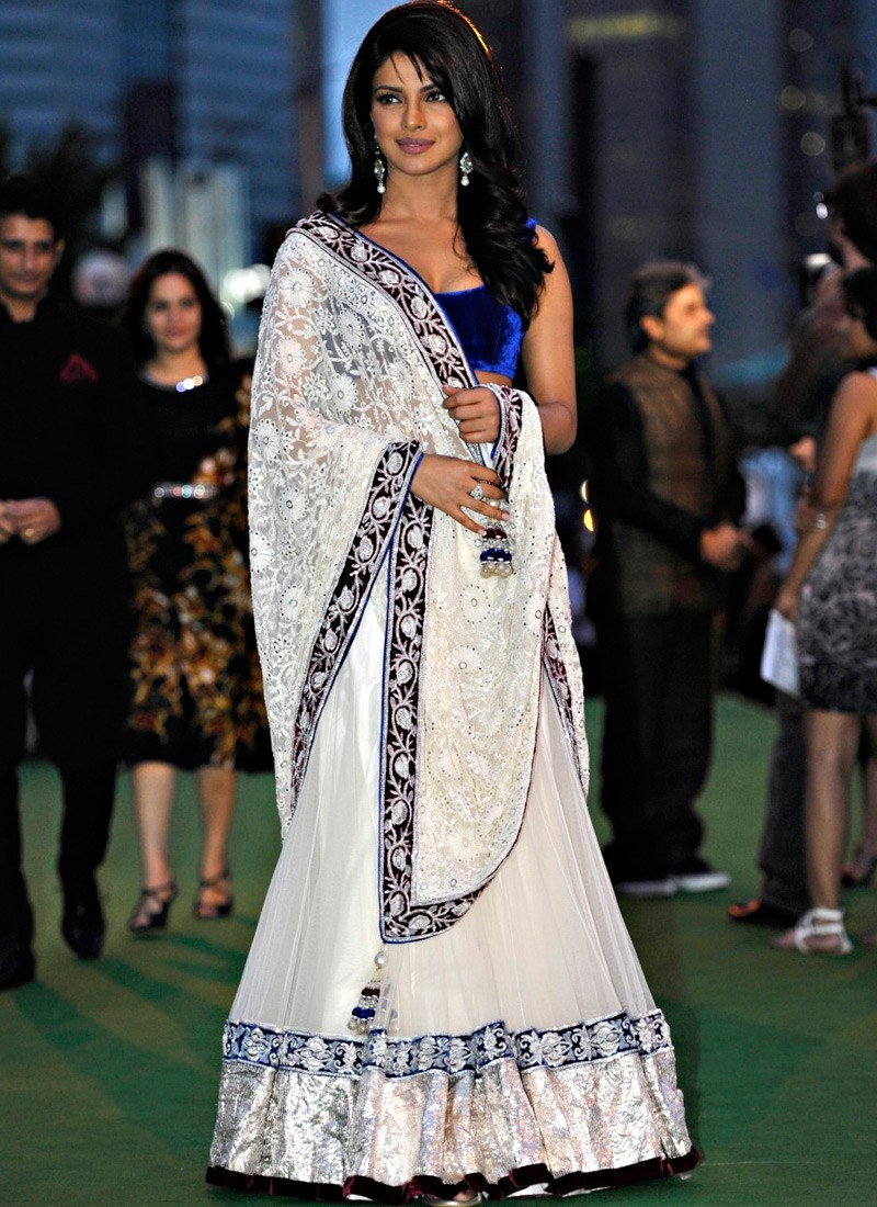 Priyanka Chopra White Net Bollywood Replica Lehenga Saree   TSBPC02