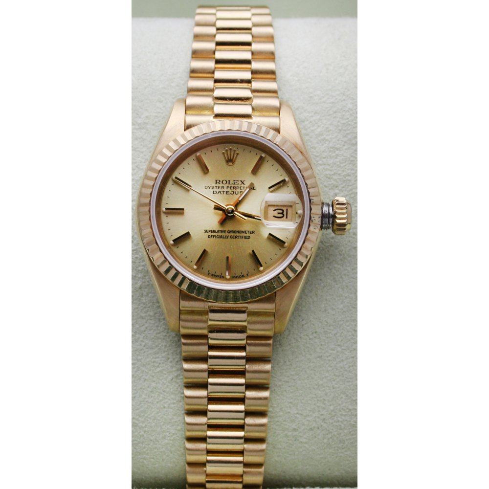 Rolex Pre Owned Ladies 18ct Yellow Gold Oyster Perpetual Datejust on a